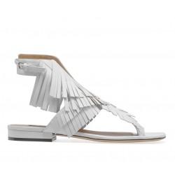 sergio rossi promotions sandales SandalesSR NU-PIED FRANGE - CUIR - BLANC