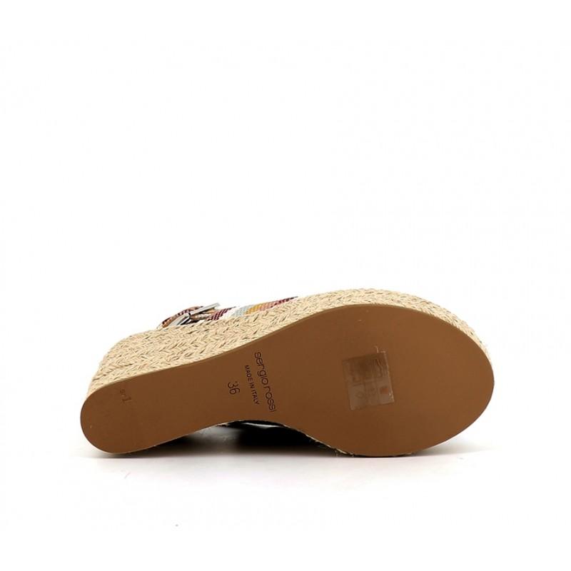 sergio rossi sandales Sandales compensées à talon 75 mmSR COMP 1 T75 - TOILE RAYÉE - MU