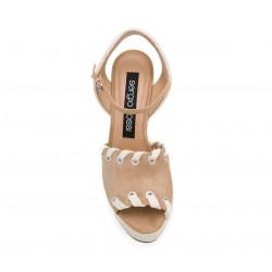 sergio rossi promotions sandales Sandales compensées à talon 75 mmSR COMP LACET T75 - NUBUCK - BEI