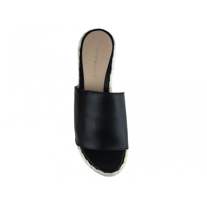stuart weitzman sandales Sandales CompenséesSW GOBIG - CUIR - NOIR
