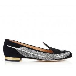 charlotte olympia mocassins & slippers SlippersCO SLIPPER PLUME - NUBUCK - NOIR
