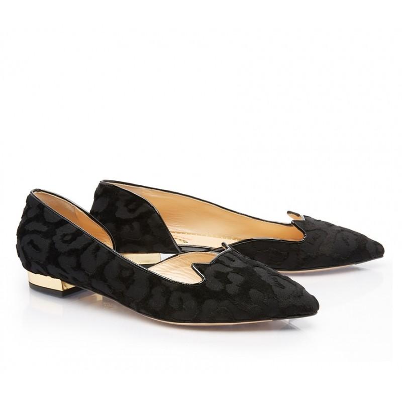 charlotte olympia mocassins & slippers SlippersCO SLIPPER CHAT - VELOURS IMPRIM
