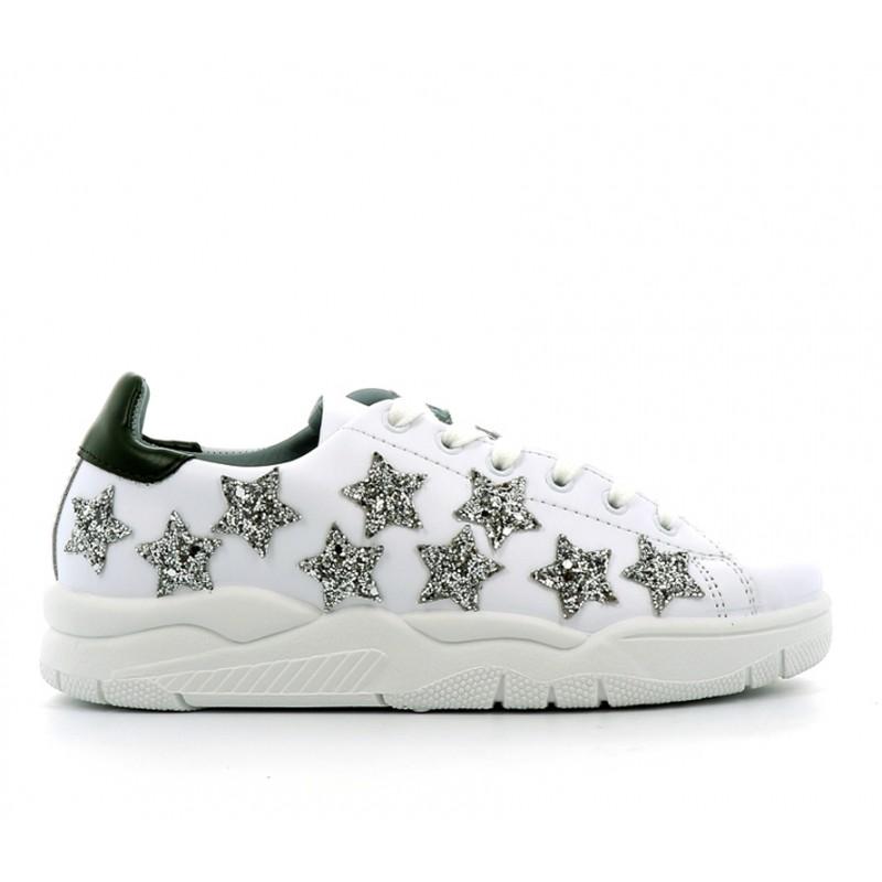 chiara ferragni nouveautés sneakers SneakersCF SNEAK STAR - CUIR - BLANC ET
