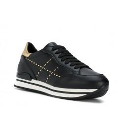 hogan nouveautés sneakers Sneakers H222ELIUM - CUIR ET LOGO - NOIR ET O