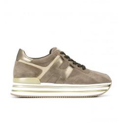 hogan nouveautés sneakers Sneakers H222ELIUM - NUBUCK - BEIGE ET LOGO O