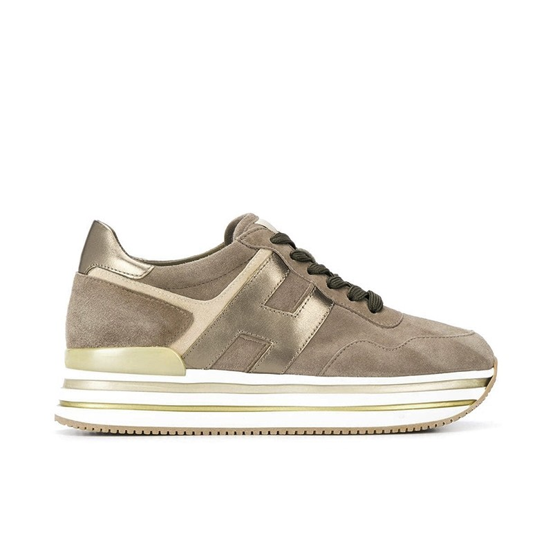 hogan sneakers Sneakers H222ELIUM - NUBUCK - BEIGE ET LOGO O