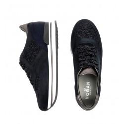 hogan nouveautés sneakers Sneakers H222ELIUM - NUBUCK ET TOILE - BLEU P