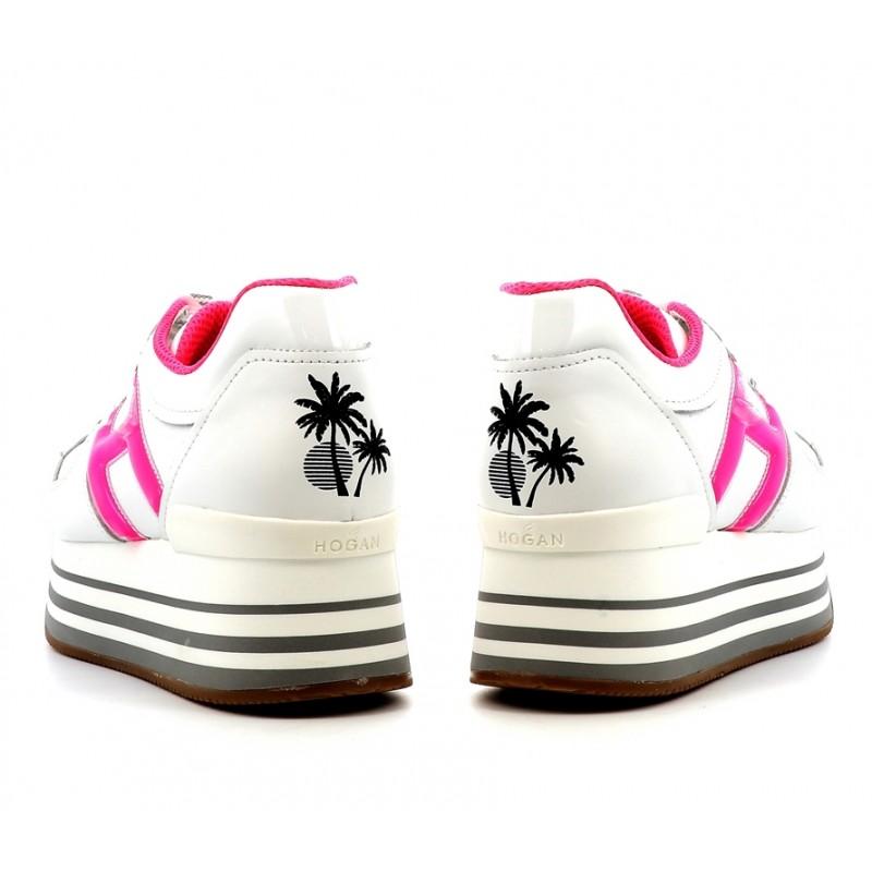 hogan sneakers Sneakers maxi H222ELIUM DOUBLE - CUIR - BLANC ET R