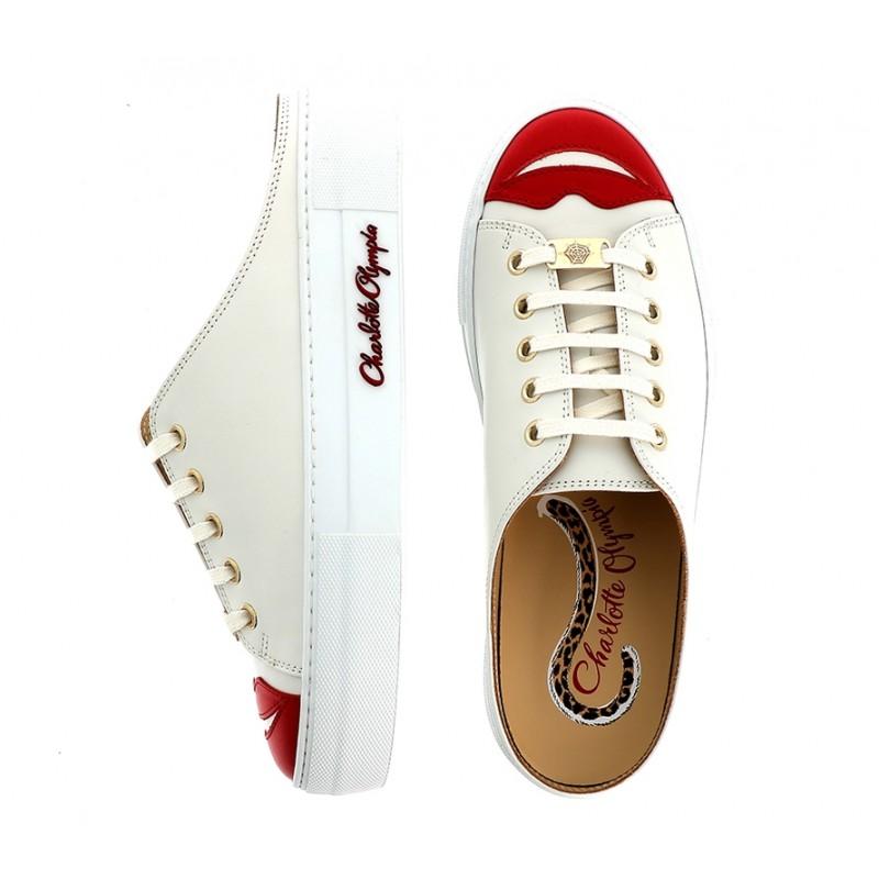 Charlotte Olympia promotions sneakers SneakersCO SNEAKER MULE - CUIR - BLANC/R