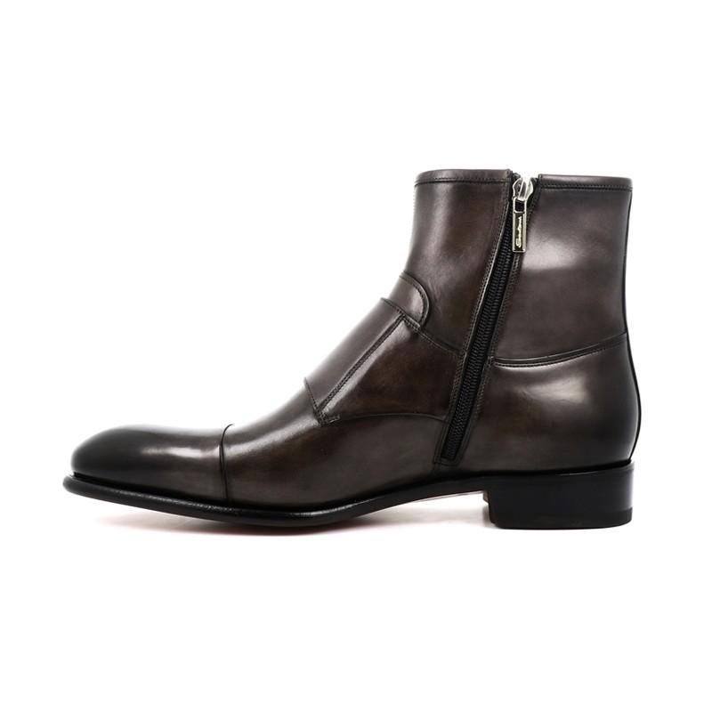 santoni boots et bottillons Double-boucle CarterCARTO - CUIR PATINÉ - ANTHRACITE