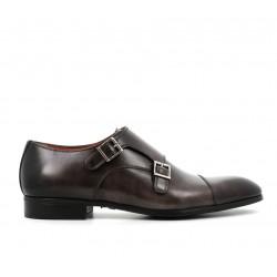 santoni nouveautés chaussures à boucles Double-Boucle SimonSIBOUCLE - CUIR PATINÉ - GRIS