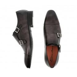 santoni nouveautés chaussures à boucles siboucleSIBOUCLE - CUIR PATINÉ - GRIS