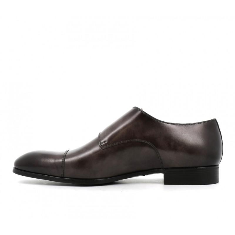 santoni chaussures à boucles Double-Boucle SimonSIBOUCLE - CUIR PATINÉ - GRIS