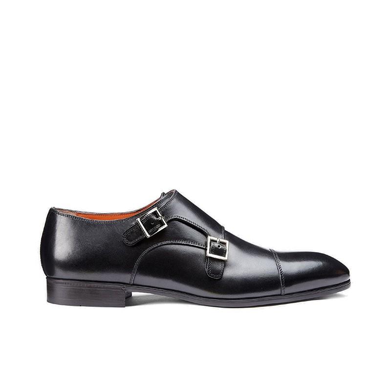 santoni chaussures à boucles Double-Boucle SimonSIBOUCLE - CUIR ROYAL CALF - NOI