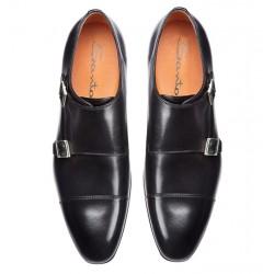 santoni nouveautés chaussures à boucles Double-Boucle SimonSIBOUCLE - CUIR ROYAL CALF - NOI