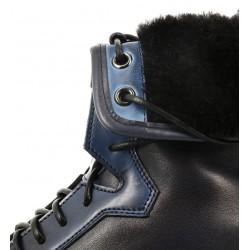 santoni nouveautés boots et bottillons Bottines fourrées à lacetsWHISKY 2 - CUIR PATINÉ - BLEU ÉL