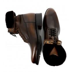 santoni nouveautés boots et bottillons Bottines fourrées à lacetsWHISKY 2 - CUIR PATINÉ - CHOCOLA