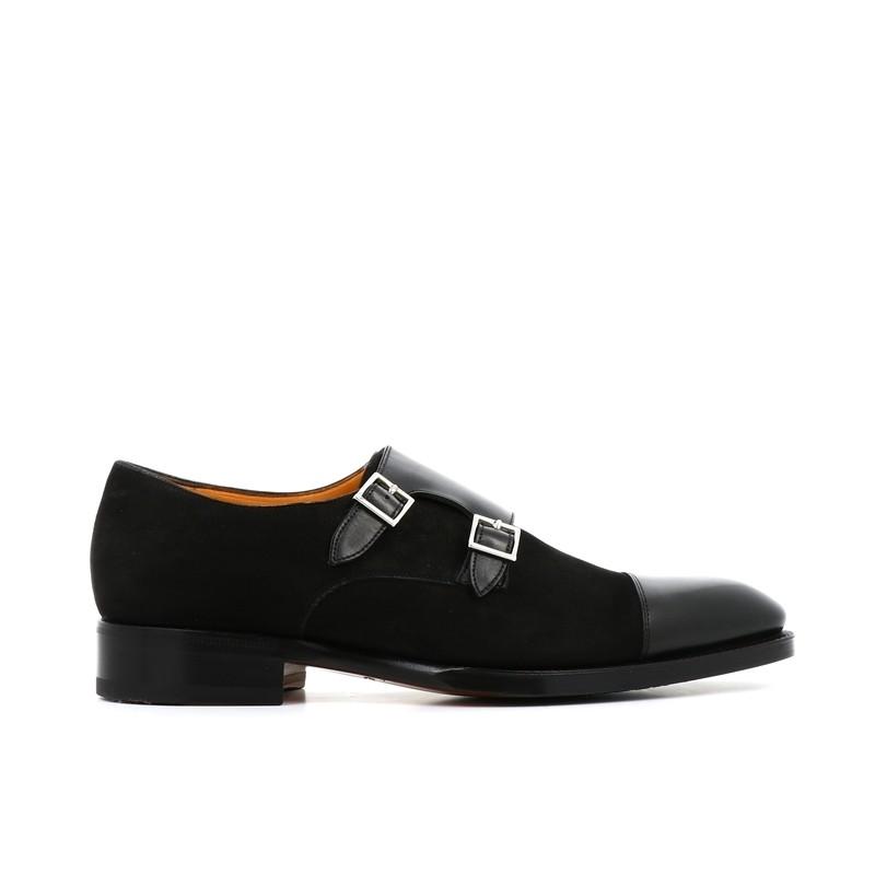 santoni promotions chaussures à boucles cardoCARDO - CUIR ET NUBUCK - NOIR