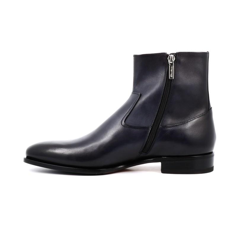 santoni promotions boots et bottillons levipLEVIP - CUIR PATINÉ - MARINE