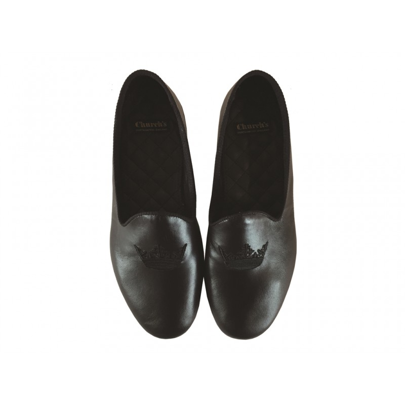 church's nouveautés chaussures d'intérieur tritonTRITON - CUIR ET BRODERIE - NOIR