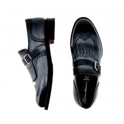 santoni nouveautés chaussures à boucles colinCOLIN - CUIR DÉLAVÉ - BLEU
