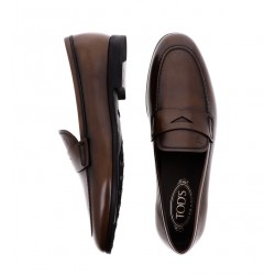 tod's mocassins et slippers pemogPEMOG - CUIR PATINÉ - MARRON