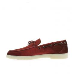 santoni nouveautés chaussures bateau yaltaYALTA - NUBUCK - ROUGE VIEILLI