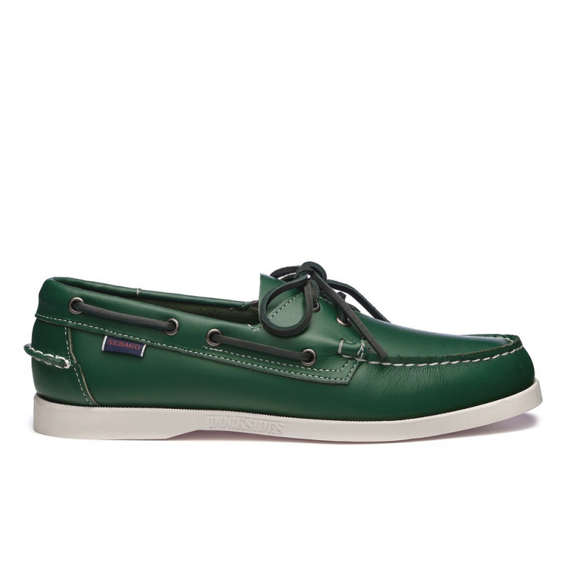 Sebago Docksides Portland Chaussure Bateau Homme Vert//Blanc