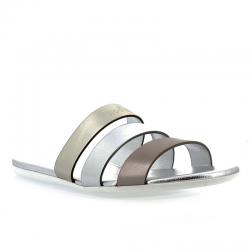 hogan sandales Sandales SlidesVALMA (2) - CUIR - OR, ARGENT ET