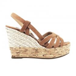 sergio rossi sandales Sandales compensées à talon 75 mmSR COMPENSE MAYA - NUBUCK - TAN