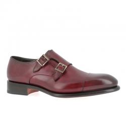 santoni chaussures à boucles Double-boucle CarterCART - CUIR - BORDEAUX