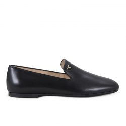 tod's mocassins & slippers SlippersT SLIPER - CUIR - NOIR ET LOGO O