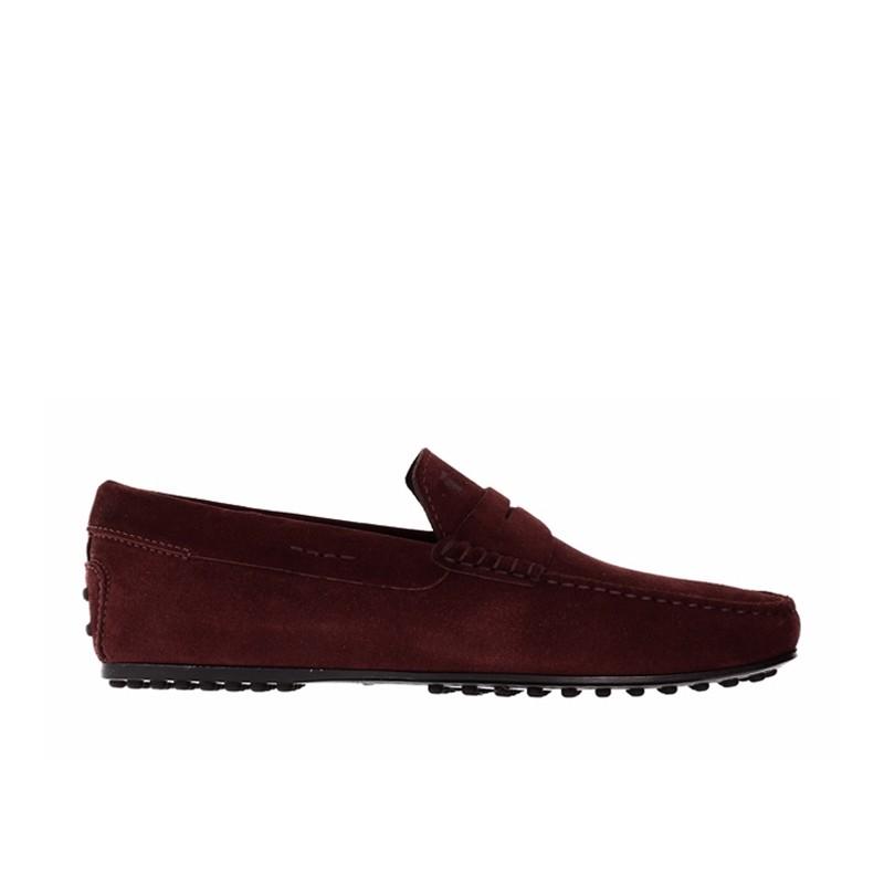 tod's mocassins et slippers Mocassins City GomminoBROKEN - NUBUCK - BORDEAUX