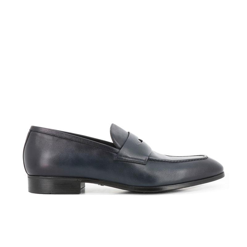 santoni mocassins et slippers Mocassins SimonSIMOC - CUIR SOUPLE - BLEU
