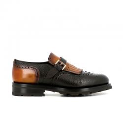 santoni chaussures à boucles colin commandoCOLIN COMMANDO - CUIR BI-MATIÈRE