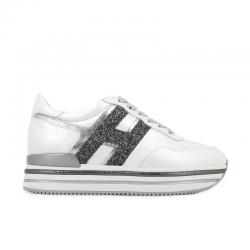 hogan sneakers Sneakers H222ELIUM - CUIR ET GLITTERS - BLANC