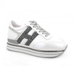 hogan nouveautés sneakers Sneakers H222ELIUM - CUIR ET GLITTERS - BLANC