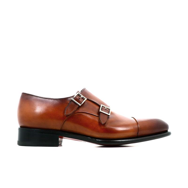 santoni chaussures à boucles Double-boucle CarterCART - CUIR PATINÉ - GOLD (DISPO