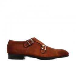 santoni chaussures à boucles Double-Boucle SimonSIBOUCLE - NUBUCK - NOISETTE