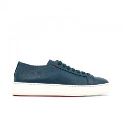 santoni sneakers Sneakers ClineCLINE - CUIR GRAINÉ - BLEU CARTA