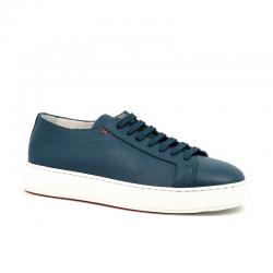 santoni nouveautés sneakers SneakersCLINE - CUIR GRAINÉ - BLEU CARTA