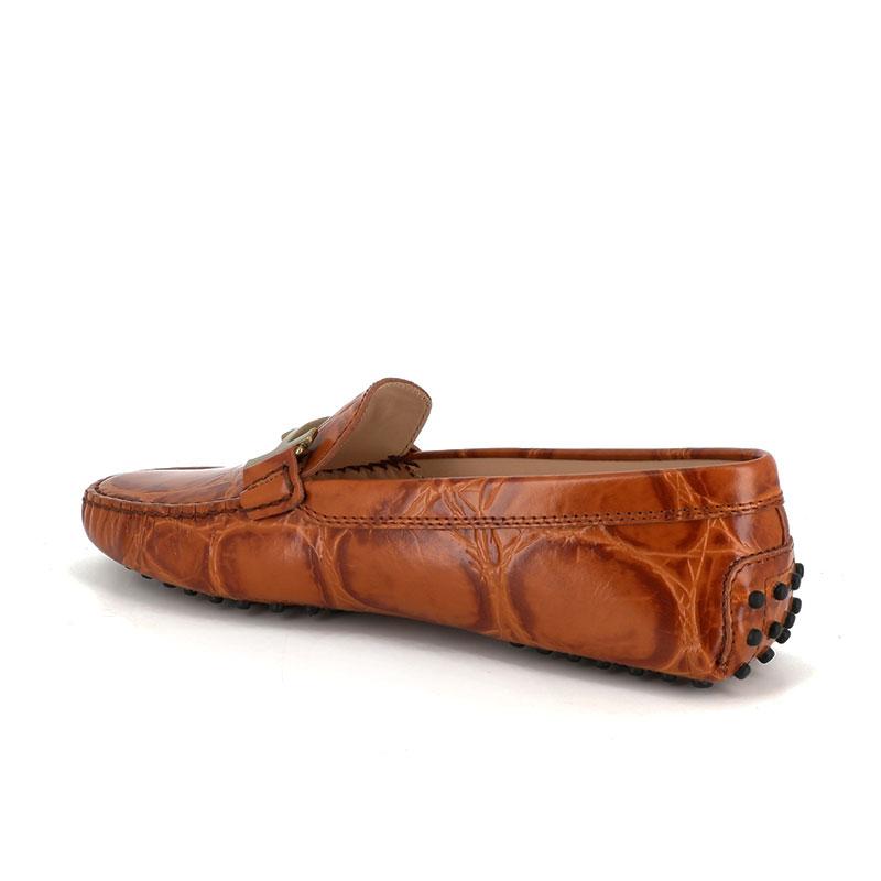 tod's mocassins & slippers Mocassins Gommino Double TTODTIE - CUIR IMPRIMÉ CROCODILE