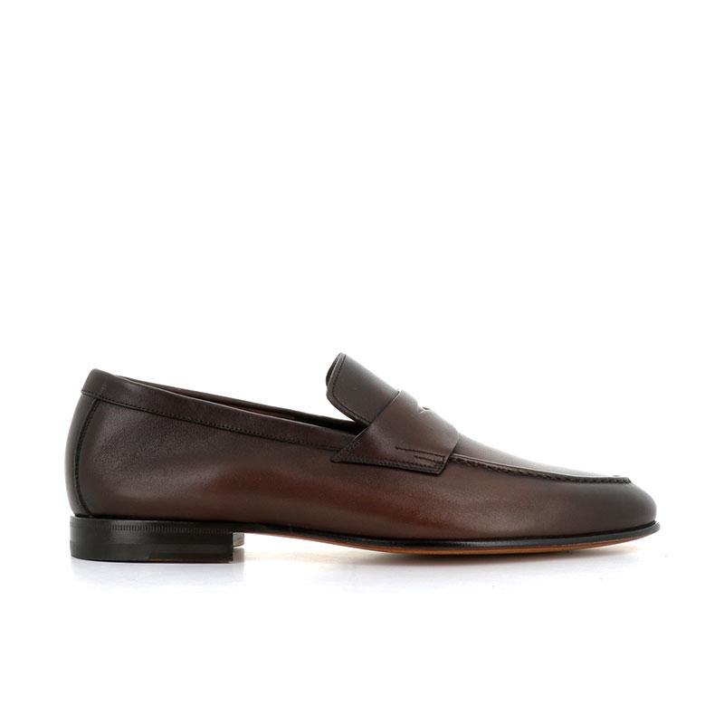 santoni mocassins et slippers MocassinsCARLOS 2 - CUIR - MARRON PATINÉ