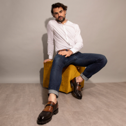 santoni nouveautés chaussures à boucles colin commandoCOLIN COMMANDO - CUIR BI-MATIÈRE