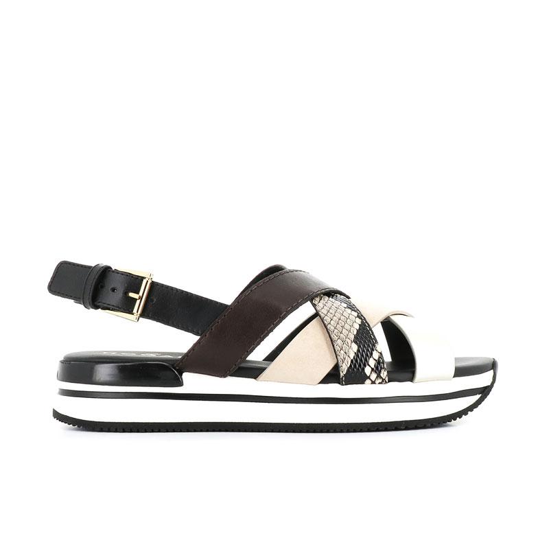 hogan sandales Sandales H222ELIA CROISE 2 - CUIR ET CUIR IMP