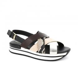 hogan promotions sandales Sandales H222ELIA CROISE 2 - CUIR ET CUIR IMP