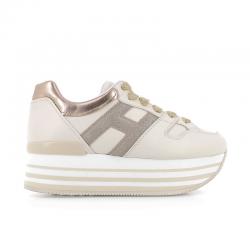 hogan promotions sneakers Sneakers maxi H222ELIUM DOUBLE - CUIR - BEIGE ET L