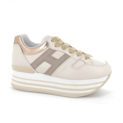 hogan sneakers Sneakers maxi H222ELIUM DOUBLE - CUIR - BEIGE ET L