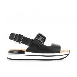 hogan nouveautés sandales Sandales H222HF H257 - CUIR - NOIR