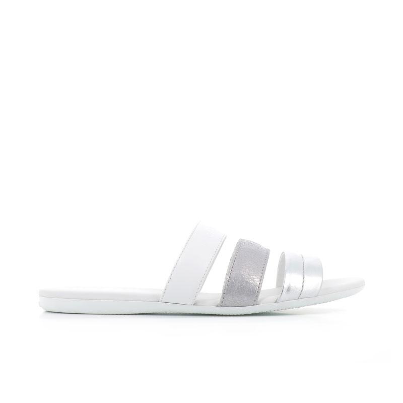 hogan sandales Sandales SlidesVALMA (2) - CUIR - BLANC ET ARGE